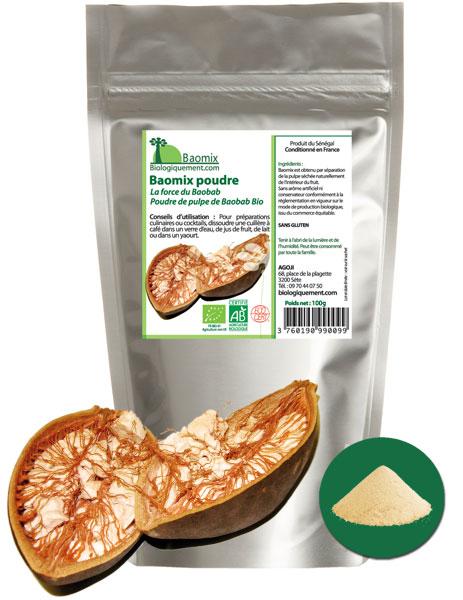 Acheter de la poudre de baobab bio Baomix sur Biologiquement.com