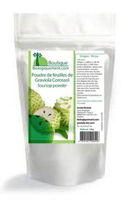Achetez de la poudre de feuilles de Graviola corossol sur la boutique Biologiquement.com, cliquez sur la sachet