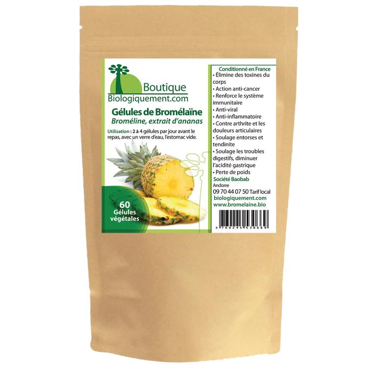 Acheter de la bromélaïne bio broméline une enzyme extraite de la tige d'ananas traitement naturel du cancer, sur la boutique Biologiquement.com
